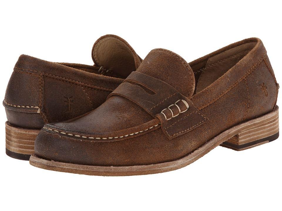 FRYE FRYE - GREG LEATHER PENNY (TAN BROWN WAXED SUEDE) MEN'S SLIP ON SHOES