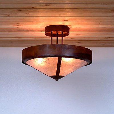 Avalanche ranch a49 3 light ridgemont rustic plain semi flush ceiling light atg stores