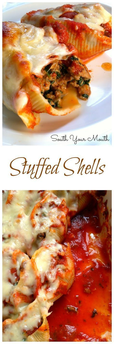 Classic Stuffed Shells With Italian Sausage Ground Beef Spinach Garlic And Herbs Stuffed In Jumbo Shells Then Topped With Stuffed Shells Recipe Recipes Food