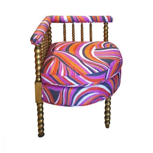 Antique Gilded Corner Chair Front View