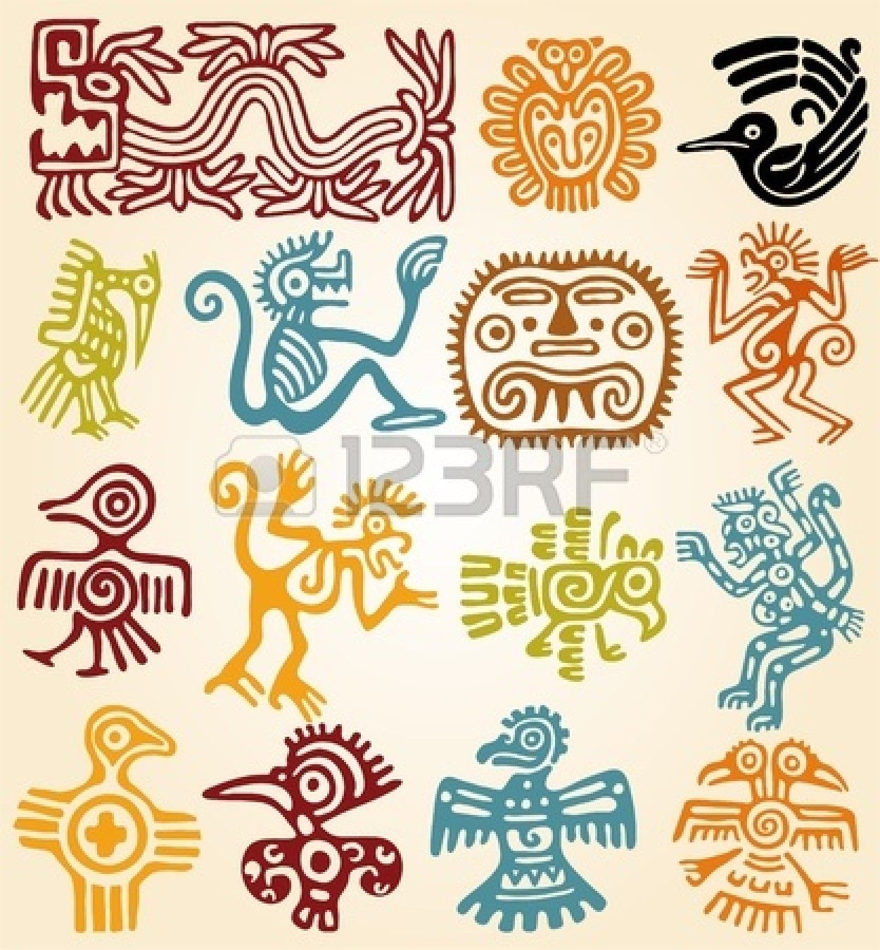 Maya stock photos images royalty free maya images and pictures mexican symbols line drawings in color can use for mexican tin art inspiration kinders create your own mexican symbol using line oil pastel and buycottarizona