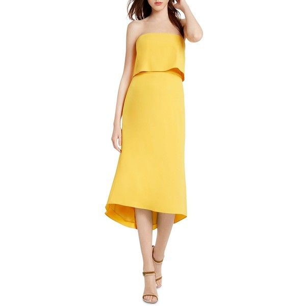 Halston Heritage Strapless Popover Midi Dress (£202) ❤ liked on Polyvore featuring dresses, marigold, strapless dress, calf length dresses, strapless midi dress, mid calf dresses and midi dress