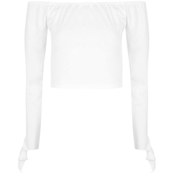 Boohoo Alice Tie Sleeve Bardot Top | Boohoo ($12) ❤ liked on Polyvore featuring tops, white lace bodysuit, sequin crop top, embellished crop top, white crop top and white lace top