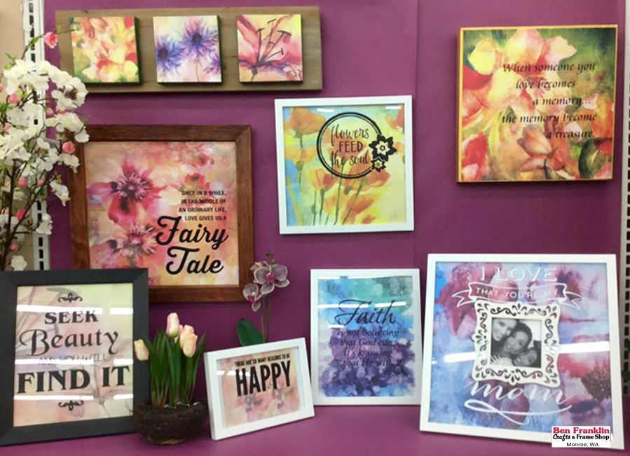 "Frame your own ""Ken Oliver"" Watercolor Floral Paper - We have a variety of paper to choose from! Easy instructions on our blog: http://benfranklincraftsmonroe.blogspot.com/2016/03/diy-framed-ken-oliver-watercolor-florals.html"