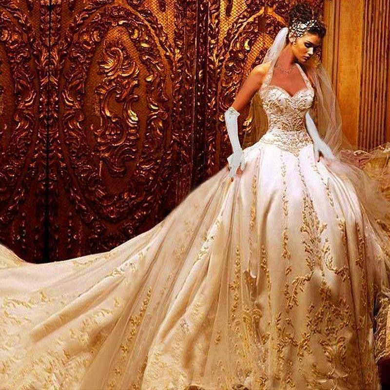 Superb Luxury Ball Gown Wedding Dresses Halter Cathedral Train Gold Lace Item specifics Item Type