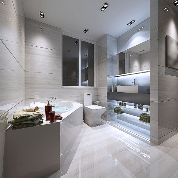 Cool White Bathroom With Stylish Blue Lighting More