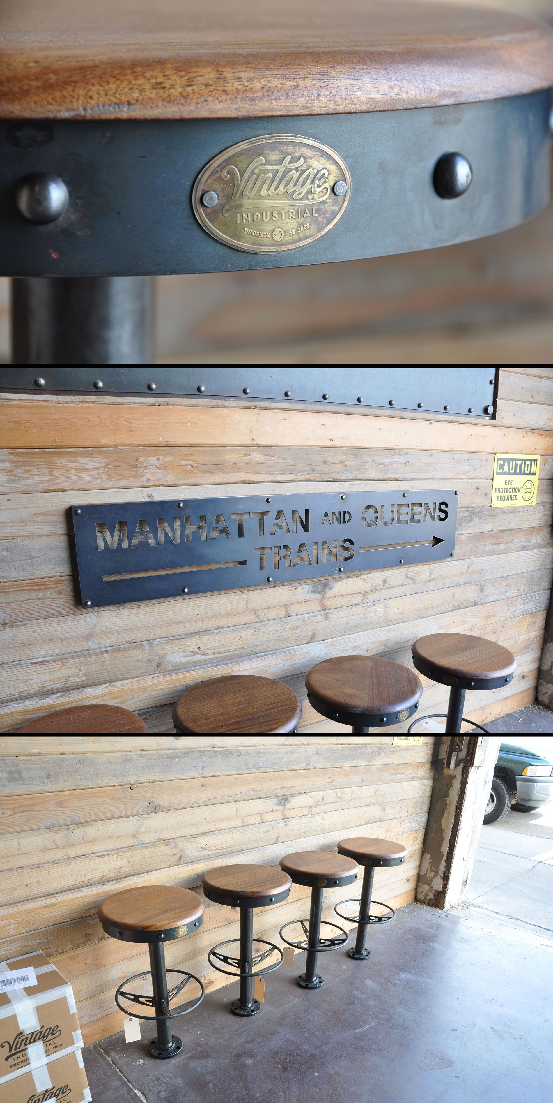 Bolt Down Bar Stools And Manhattan Train Sign By Vintage