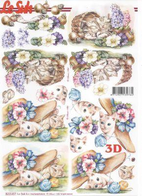 feuille 3d chat et fleurs http://fournitures-loisirs.les-creatifs