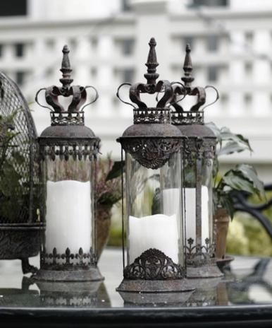 b2bc688fa80 ... Candleholders with Crown Tops - Found at   .tuscanhomedecorandmore.com st-3-large-tuscan-old-world-crown-top-candle- holders-lanterns-w-glass-cyclinders