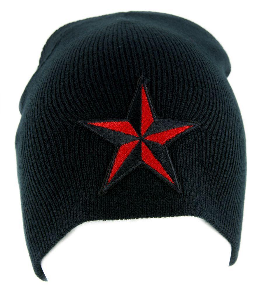 Red Nautical Star Beanie Alternative Clothing Knit Cap