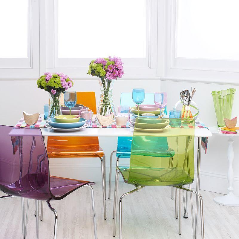 John Lewis Gel Chrome Leg Dining Chair Green Colored Dining