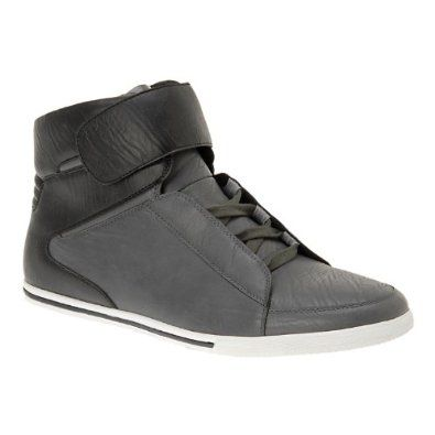 I love this trend. Many high top sneakers are being made with leather-hinting as a more dressy feel. Love it!