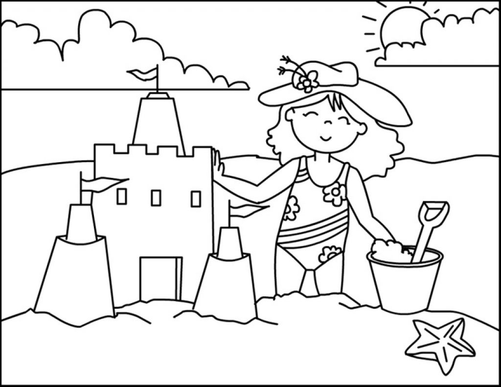Little Girl Building Sand Castle In A Beach Coloring Page | Fun ...