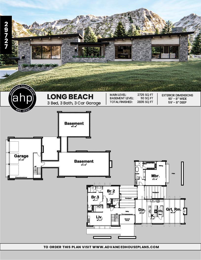 1 Story Modern Mountain House Plan Long Beach Mountain House Plans Stone House Plans House Plans