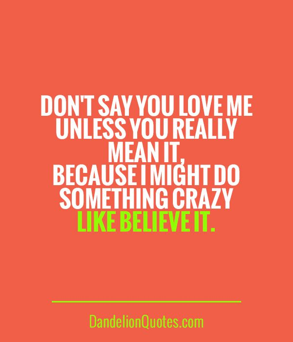 I Love You More Than Quotes: Don't Say You Love Me Unless You Really Mean It, Because I