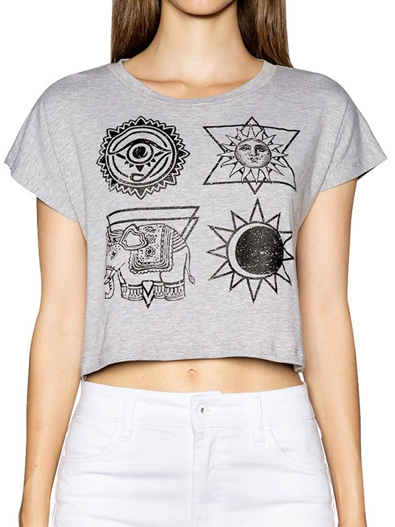 Gray totem print short sleeve crop tee choies my style