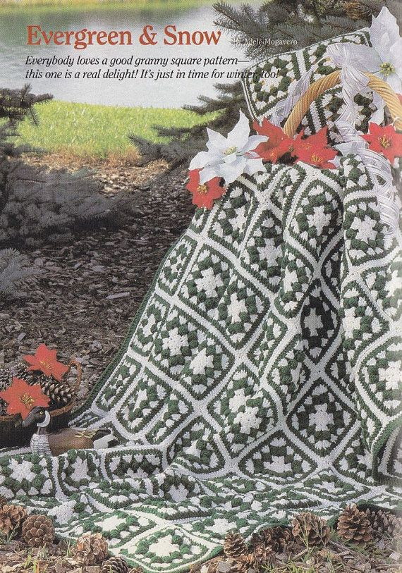 Evergreen & Snow Christmas Afghan Crochet Pattern with Matching ...