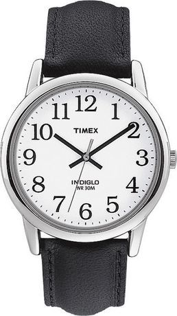 376fd9091 Timex Easy Reader Men's Classic White Dial Black Leather Strap Analog Watch  Black