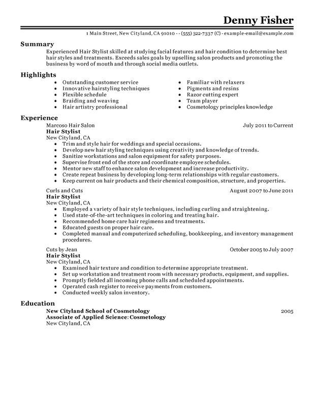 Hair Stylist Resume Examples Pinterest Resume examples and