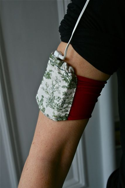 DIY iPod band made from old tights and some fabric.