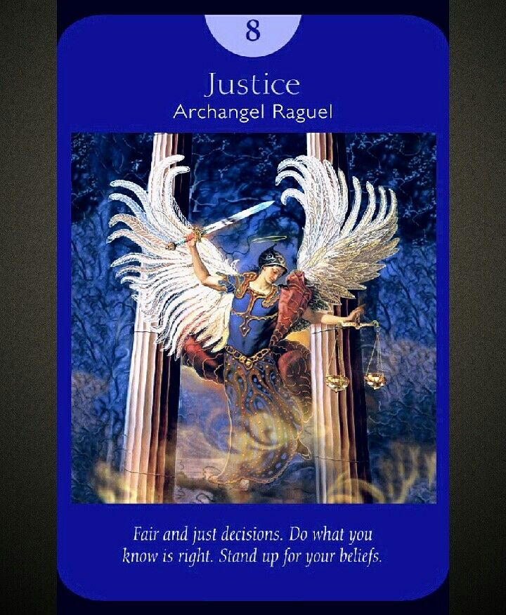 Justice card from angel tarot cards by doreen virtue