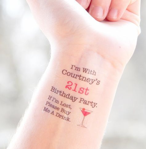 21st Birthday Party Temporary Tattoos - 21st Birthday Party Favors #21stbirthdaysigns