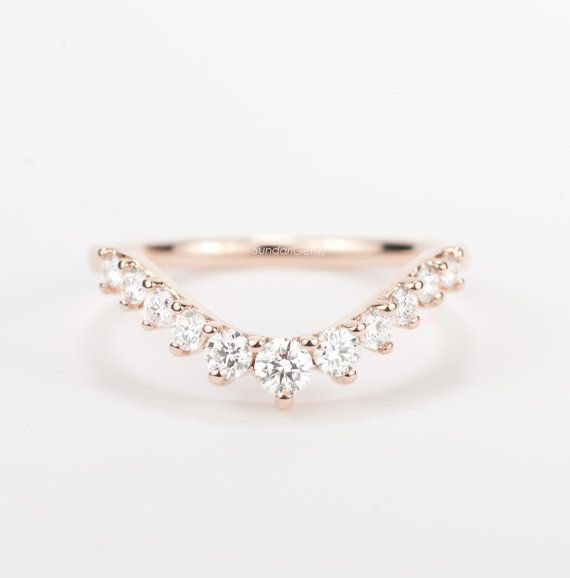 Diamond Curved Wedding Band By SundariGems