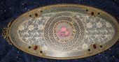 Photo of Glass and Lace Bureau Tray Glass Makeup Tray Jeweled Butterfiles Very Lovely Sha…
