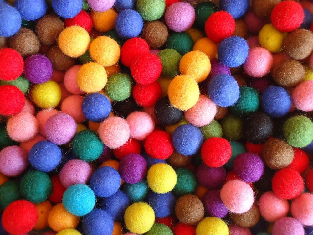 60 Colours 2cm 60 Count 100/% Wool Felt Balls