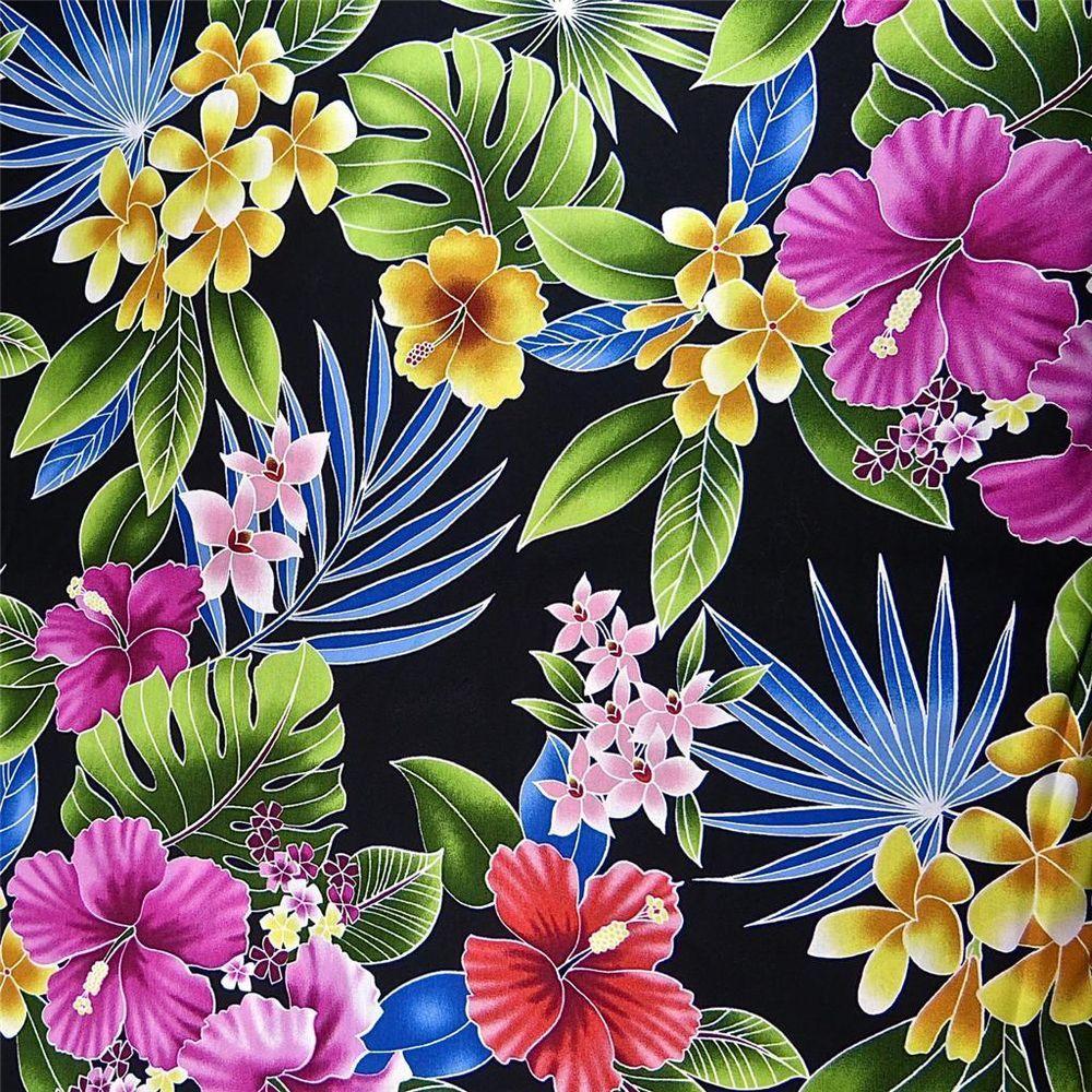 Hawaiian Print Cotton Fabric Per Yard Kokio Kula Akala Pua Lo Ula On Black Trendtex