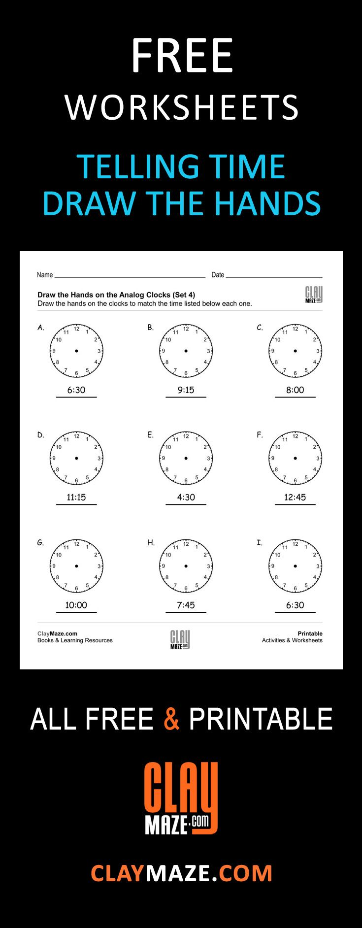 Free Printable Telling Time Practice Worksheet With Analog Clocks In This One The Student Is Asked To Draw Analog Clock Time Worksheets Telling Time Practice Maths worksheets fractions of amounts