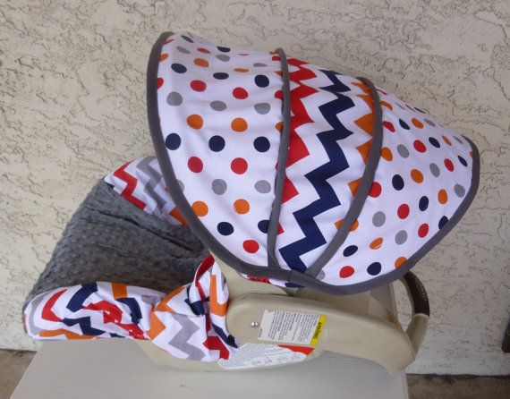 Boy Chevron with Charcoal Infant Car Seat Cover by sewcuteinaz, $65.00
