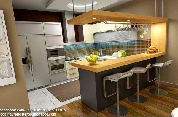 Cocinas con barra cocina y reposteros decoraci n fotos for Decoracion cocinas comedor pequenas