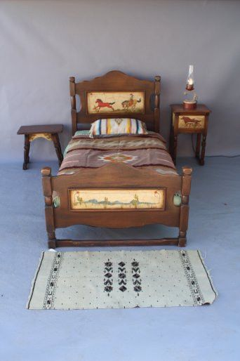Mirror And Painted Bedside Table: Hand Painted Monterey Bedroom Set, Bed, Nightstand, Mirror