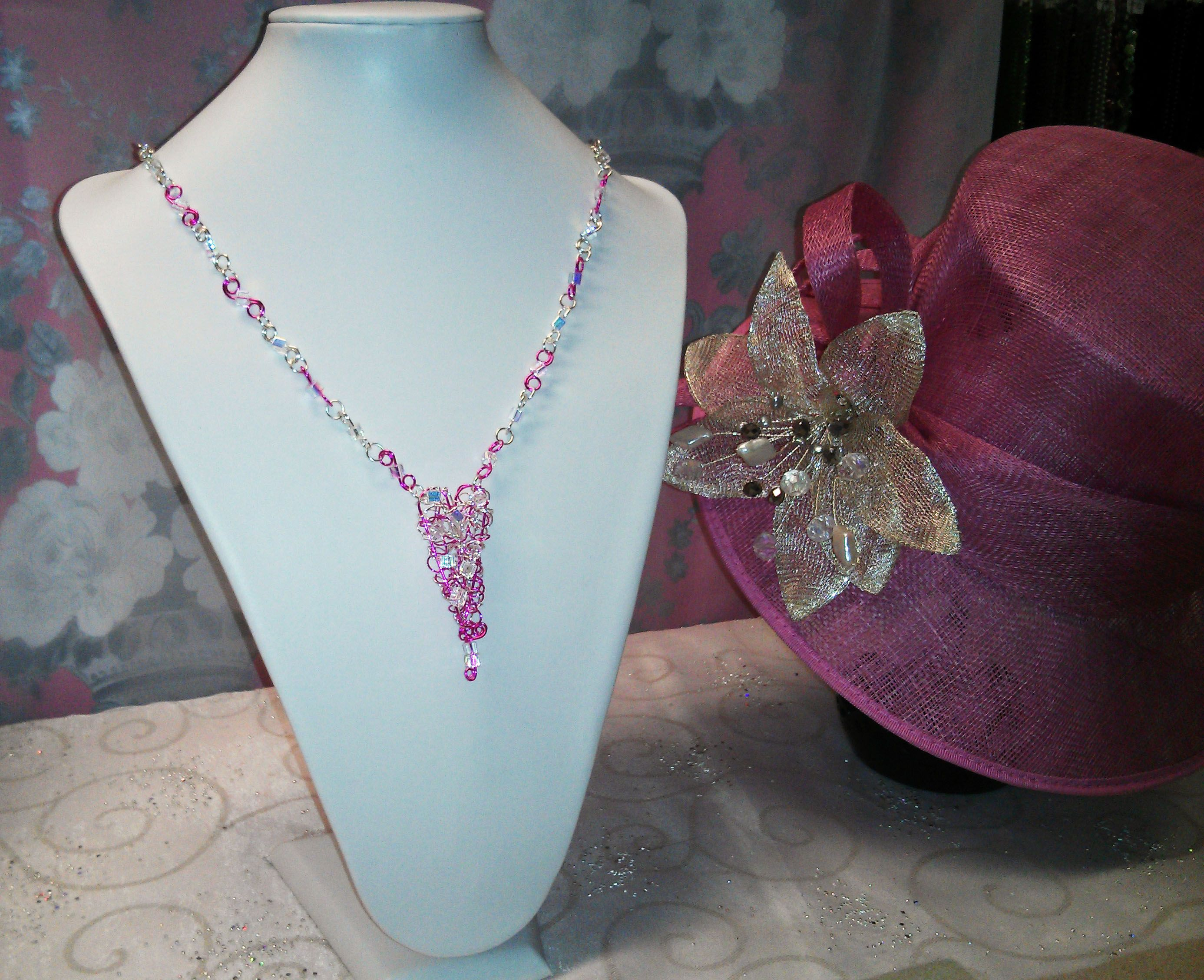 Handmade wirework Necklace with beautiful wirework & crystal heart ...