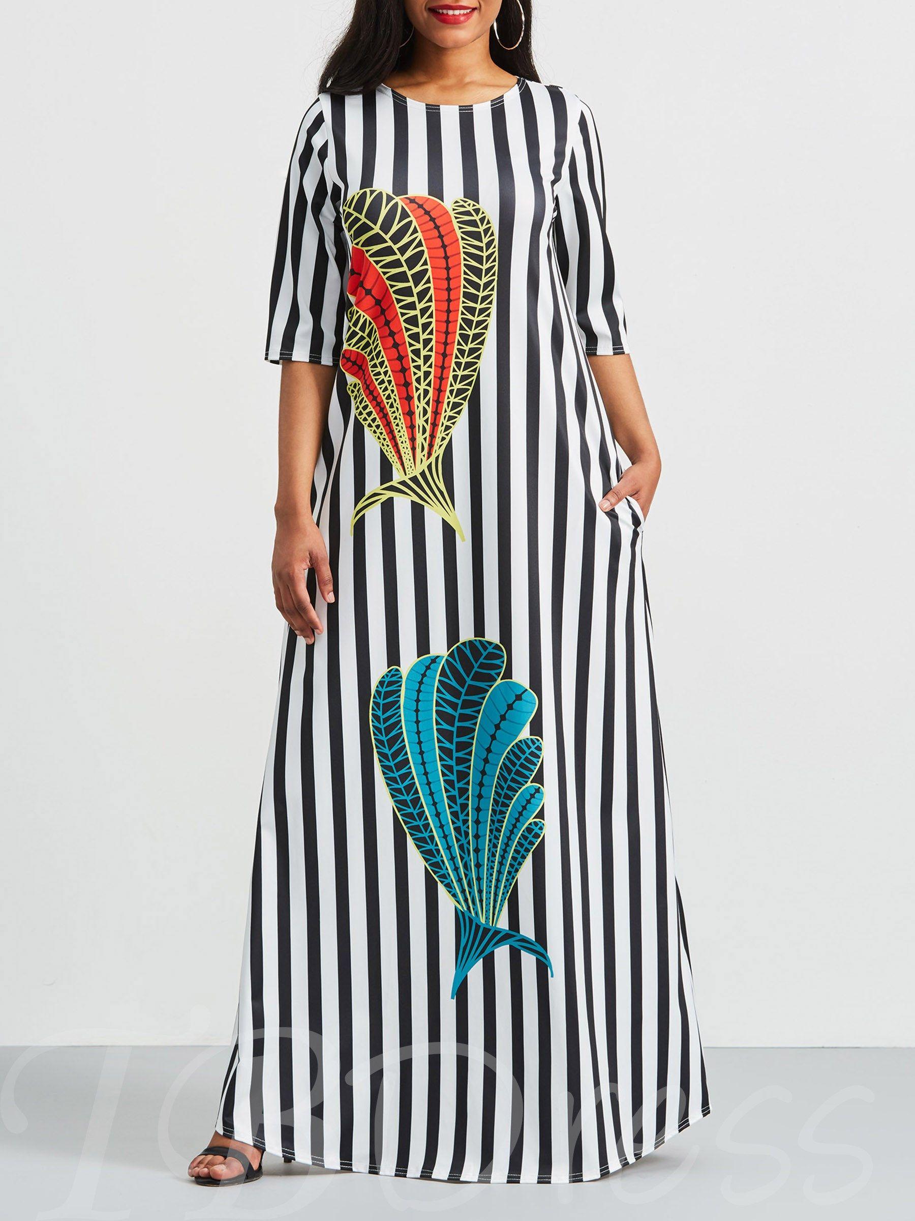 3 4 Length Sleeve Prints Color Block Maxi Dress Color Block Maxi Dress Maxi Dress Printed Casual Dresses [ 2400 x 1800 Pixel ]