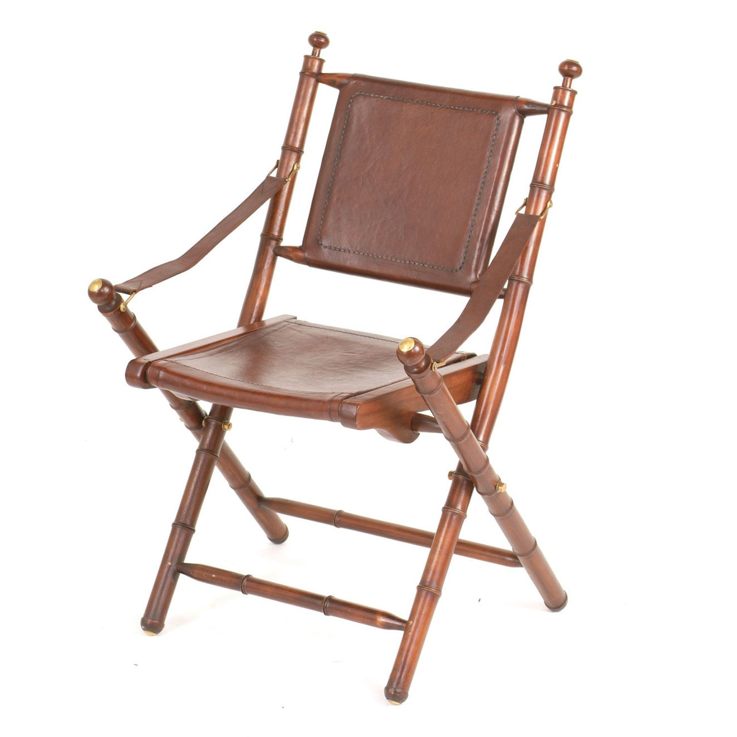 Teak & Leather Folding Chair