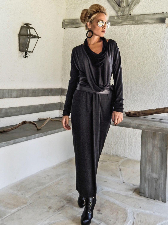 Off Black Warm Winter Angora Maxi Long Sleeve Dress / Black Kaftan ...
