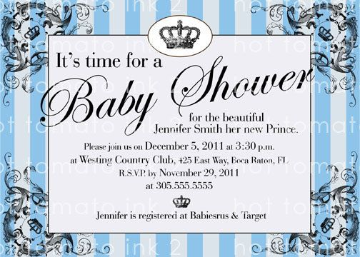 Baby Shower Invitation For Baby Boy Its A Royal Prince Shower On