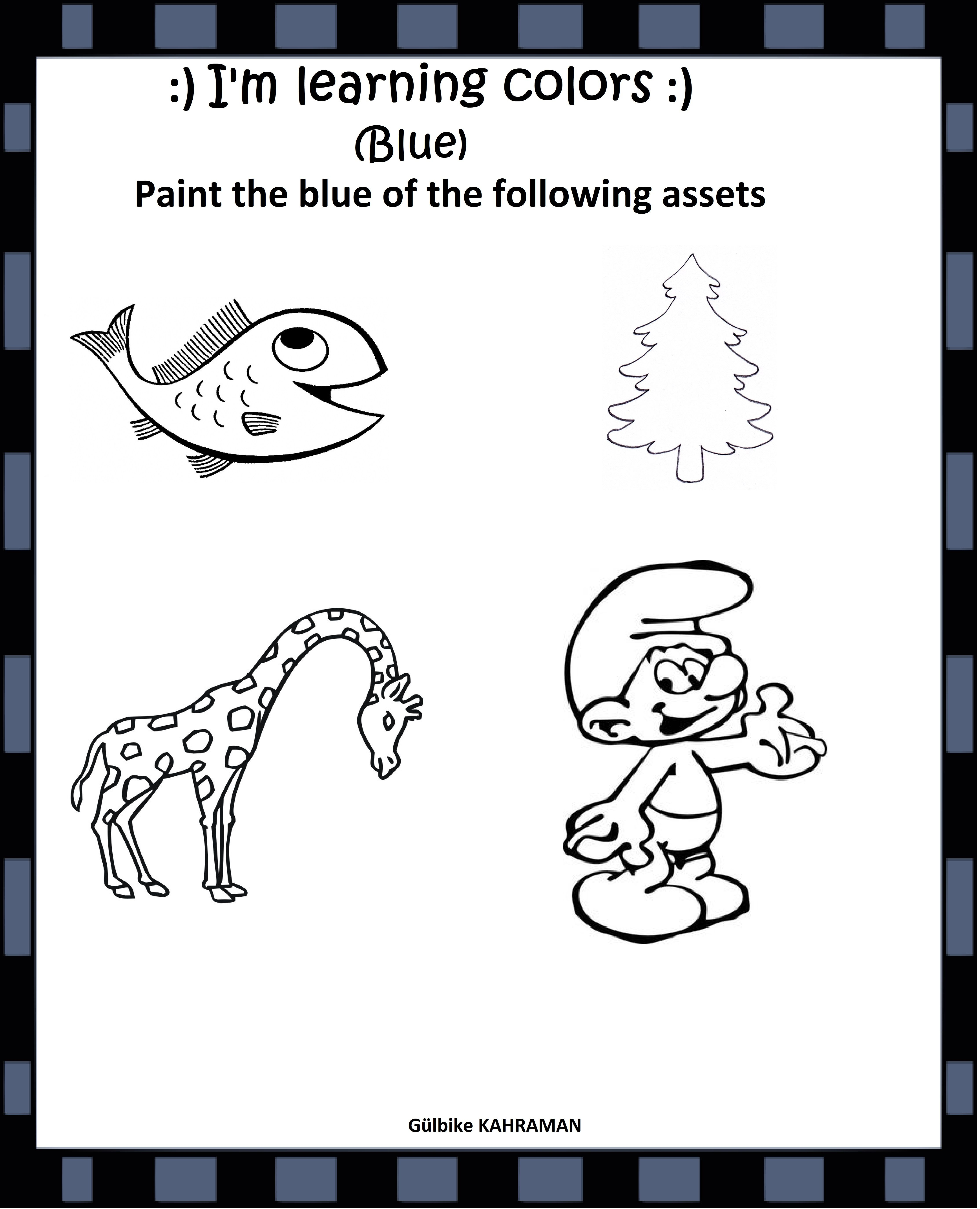 Kindergarten Worksheets Color Blue