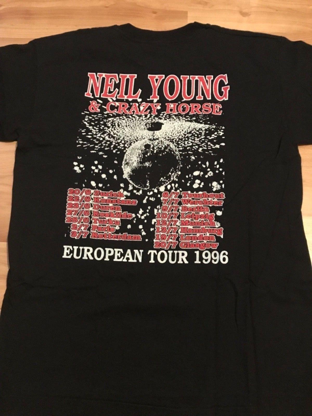 074c7b540 Neil Young rare European '96 Tour Shirt Mirror Ball Pearl Jam   eBay ...