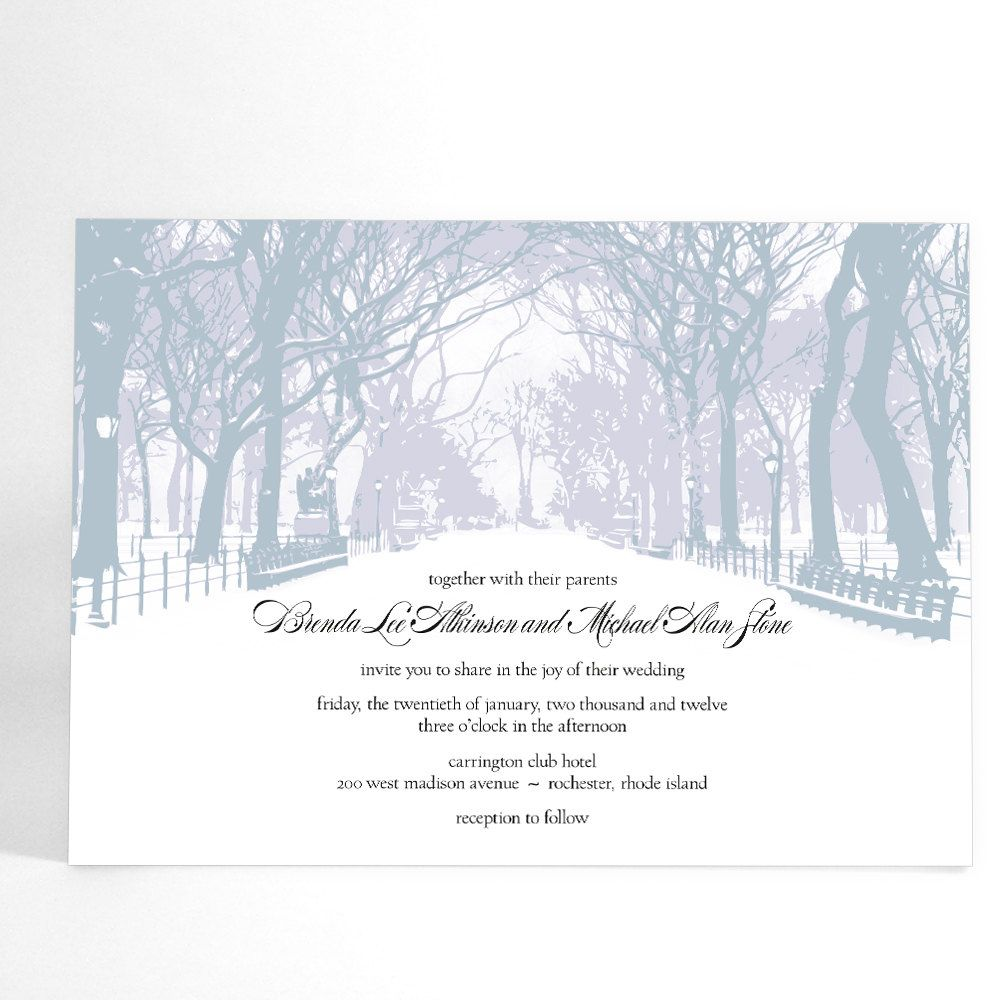 Winter Wedding Invitations with Trees- Winter Wonderland, Park Theme ...