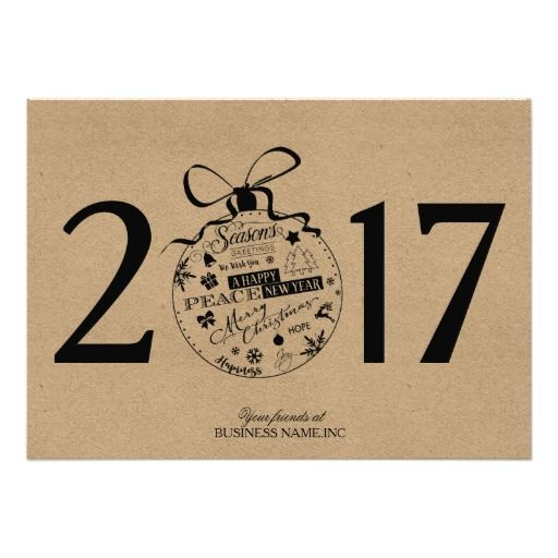 Kraft paper business christmas cards with logo for Holiday cards for businesses