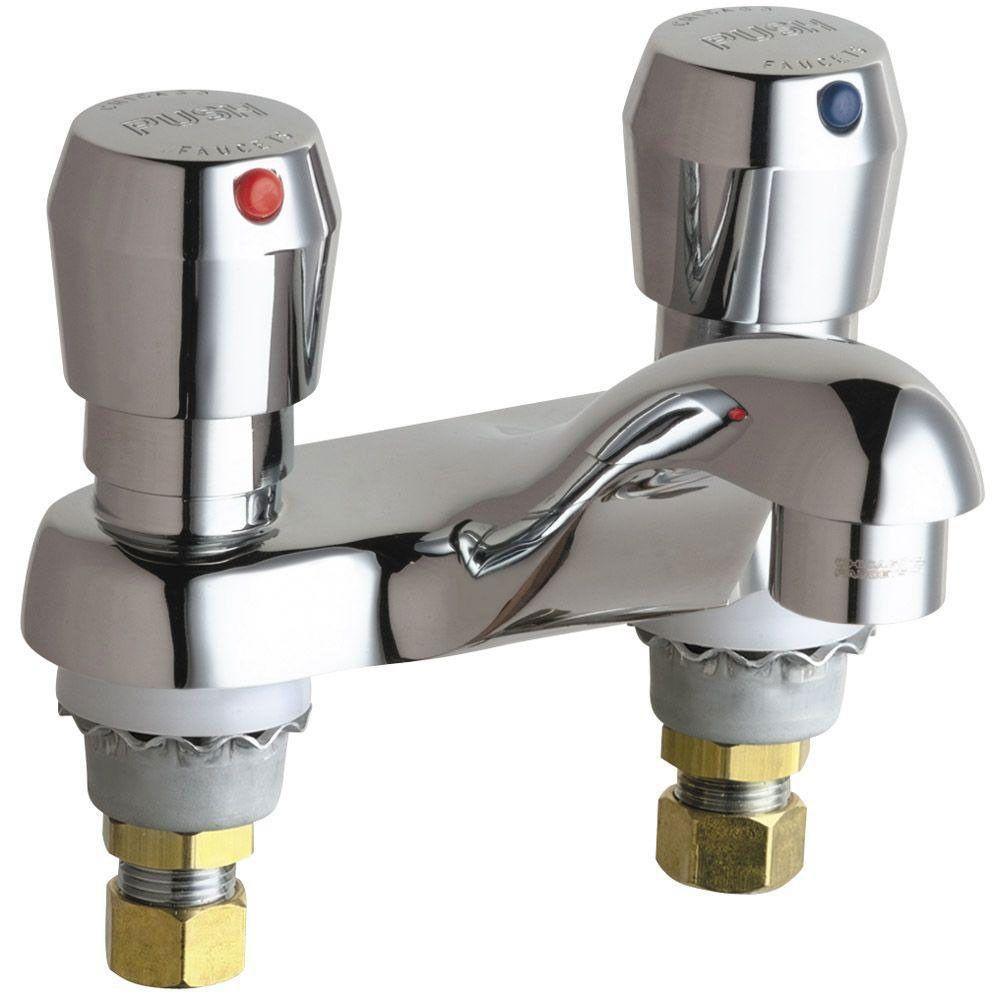Chicago Faucets 4 Inch Centerset 2 Handle Low Arc Bathroom Faucet