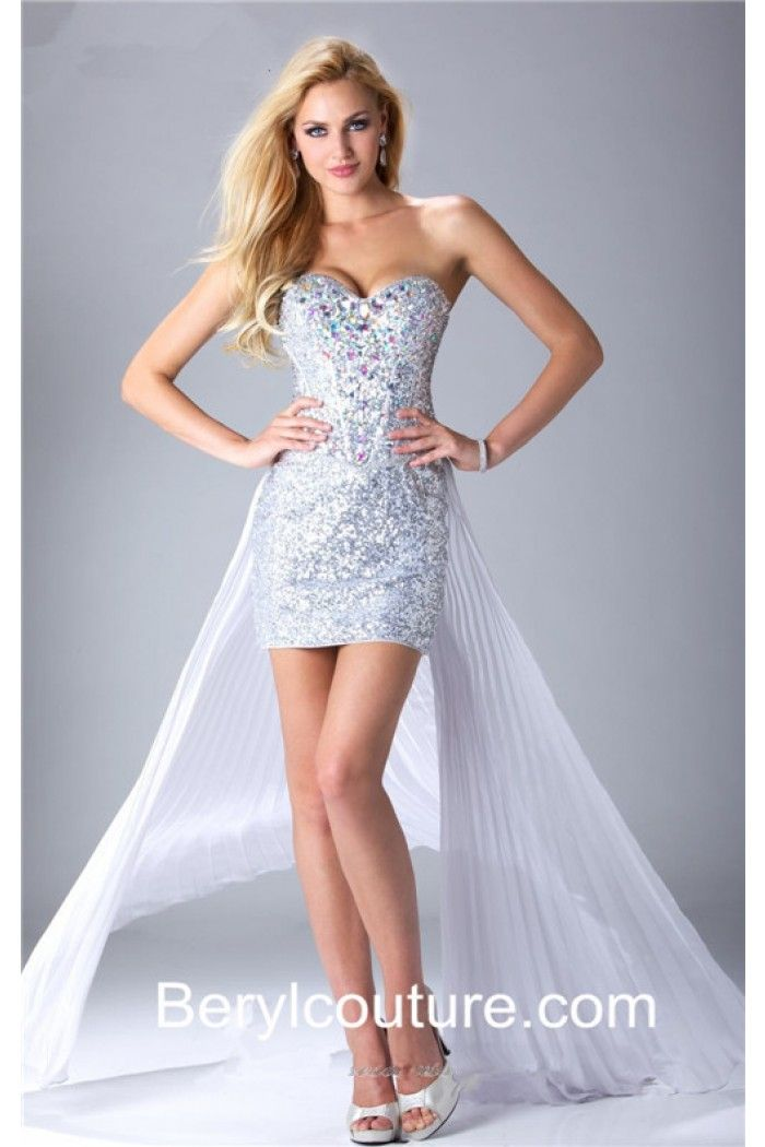 Sexy High Low Sweetheart Silver Sequin White Chiffon Prom Dress Detachable  Skirt