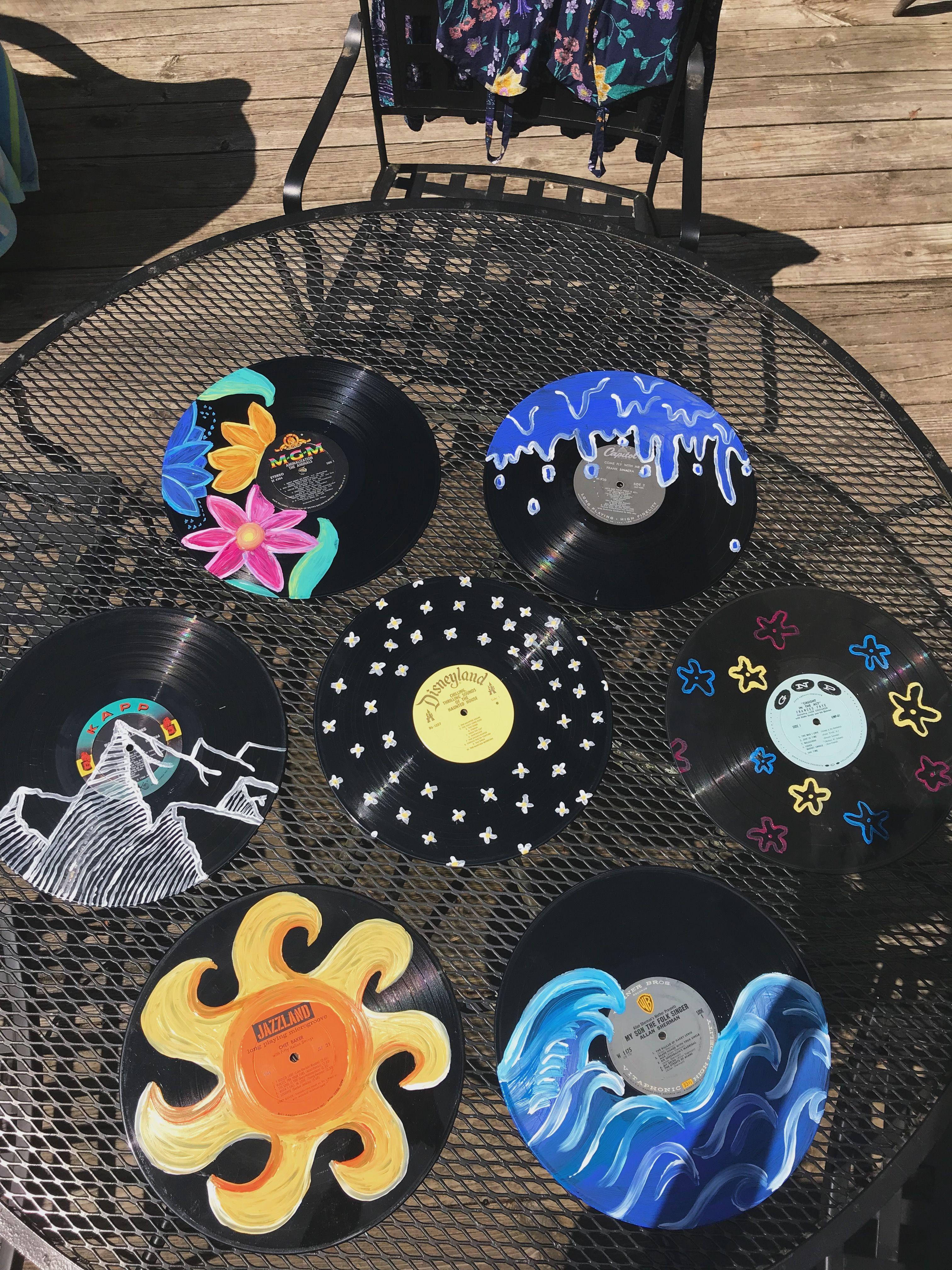 Painted Vinyl Records Record Wall Art Vinyl Art Paint Vinyl Record Art