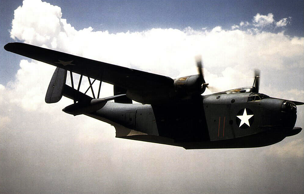 US Martin PBM Mariner flying boat.US Navy in 1937 put forth a request for a new flying boat.Radar located above cockpit in streamlined fairing.Engines mounted high on gull wings to help keep them out of salt water spray.Fixed floats on end of wings that allowed stable take off in rough seas.Tail plane was dihedral.Fins were canted inwards.