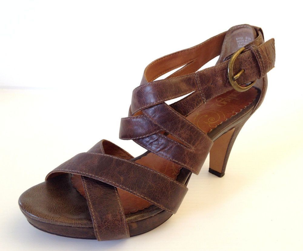 INDIGO by Clarks Women's Strappy Brown Leather Sandals Heels Size 8.5 M USA  #IndigobyClarks #Strappy #Casual #brownsandalsheels