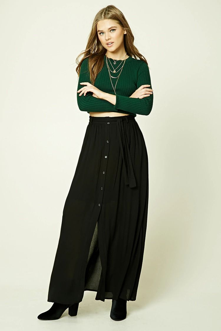A crinkled woven maxi skirt featuring a buttoned front an