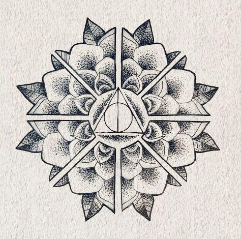 deathly hallows mandala tattoo design harry potter. Black Bedroom Furniture Sets. Home Design Ideas